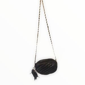 Chateau Vintage Black Quilted Crossbody Bag